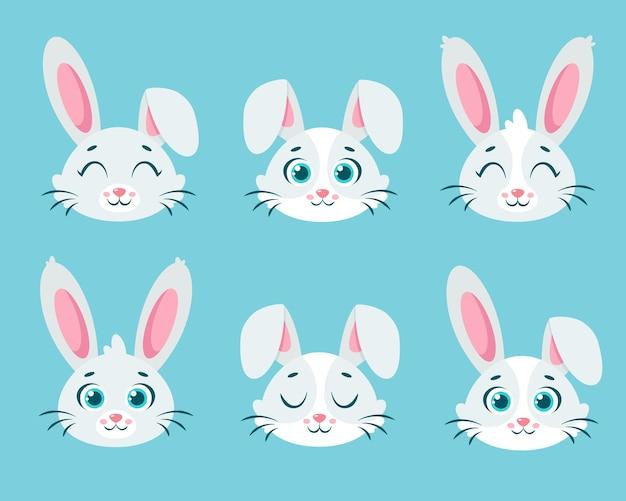 Collection de lapins blancs mignons.