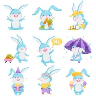 Collection de lapins de dessin animé sur fond blanc.