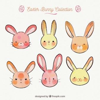 Collection de lapins mignons de pâques dans un style dessiné à la main