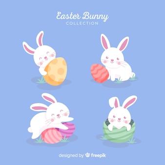 Collection de lapins de pâques couleur pastel