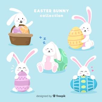 Collection de lapins de pâques simples