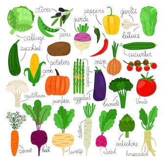 Collection de légumes de dessin animé
