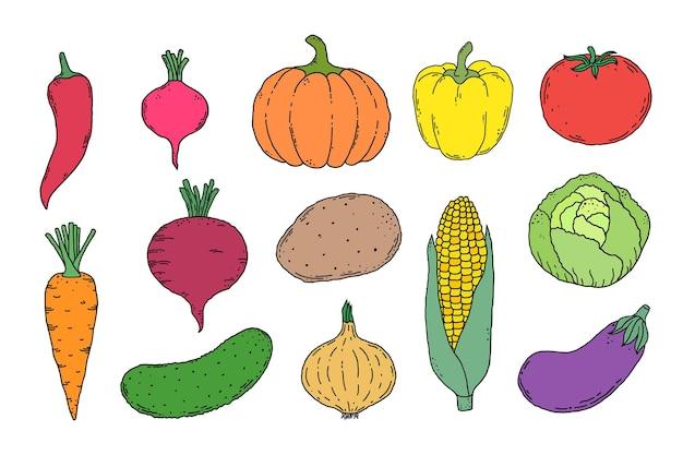 Collection de légumes dessinés à la main clipart