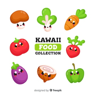 Collection de légumes kawaii