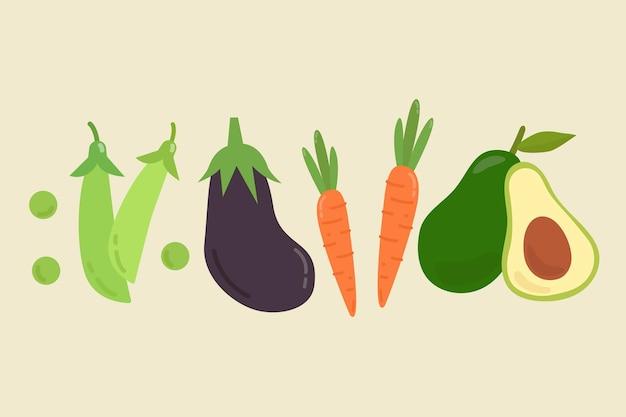 Collection de légumes pastels