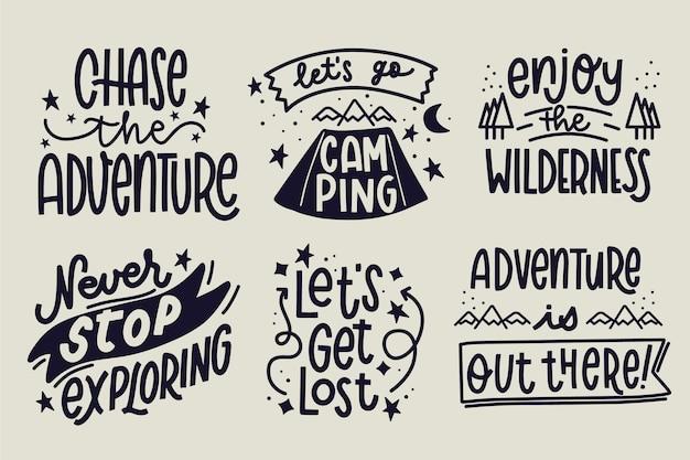 Collection de lettrage camping & adventures