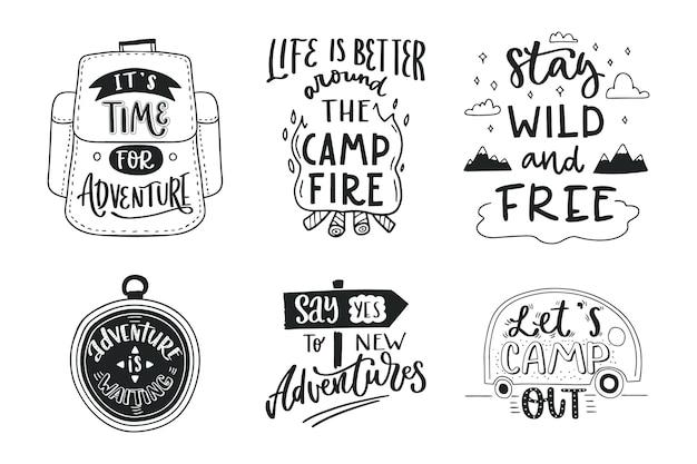 Collection de lettrage de camping