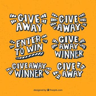 Collection de lettrage giveaway pour les concours