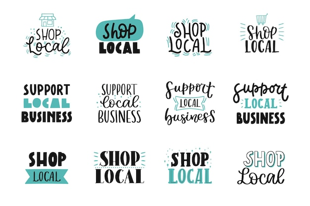 Collection de lettrage pour faire du shopping local