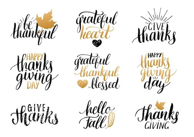 Collection de lettrage de thanksgiving