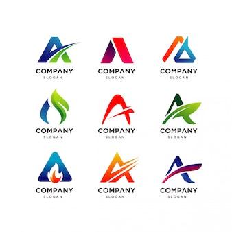 Collection de lettre a modèle de conception de logo