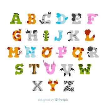 Collection de lettres adorables faites d'animaux mignons