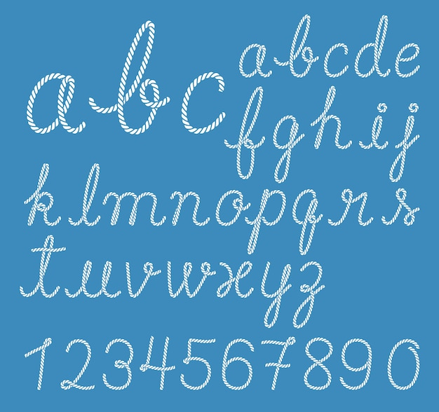 Collection de lettres alphabet corde
