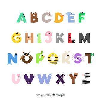 Collection de lettres avec des animaux