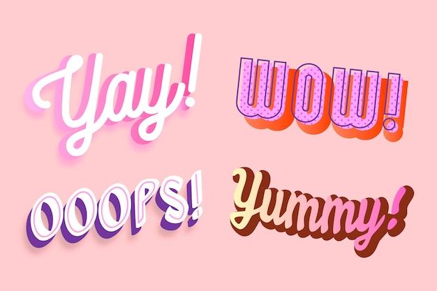 Collection de lettres expressions et onomatopées dans un style rétro