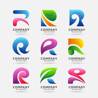Collection de lettres modernes avec logo r