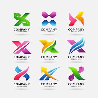 Collection de lettres modernes avec logo x