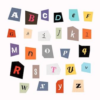 Collection de lettres de note de rançon de style papier
