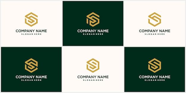 Collection de lettres s hexagonales minimalistes abstraites avec un design s luxueux