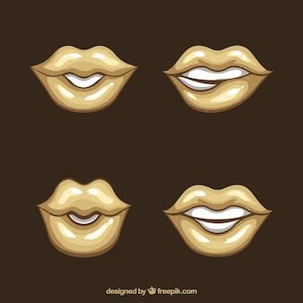 Collection de lèvres en couleur dorée
