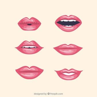 Collection de lèvres rouges avec un design plat