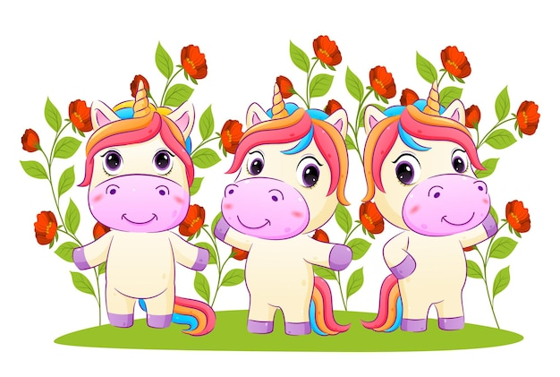 La collection de licorne pose dans le jardin plein de fleurs avec l'illustration aux couleurs vives
