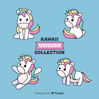 Collection de licornes kawaii dessinées à la main