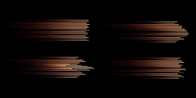Collection de lignes de vitesse dorées isolées effet de lumière électrique lumière dorée png