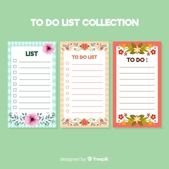 Collection de liste moderne à faire avec style floral