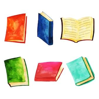 Collection de livres aquarelle