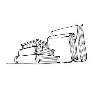 Collection de livres doodle dans un style noir. dessiné à la main. vector illustration pour votre conception.