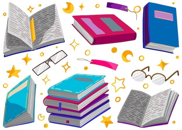 Collection de livres lumineux, lunettes, signets, étoiles. illustrations vectorielles dessinées à la main. clipart de style dessin animé isolés sur blanc. éléments colorés pour la conception.