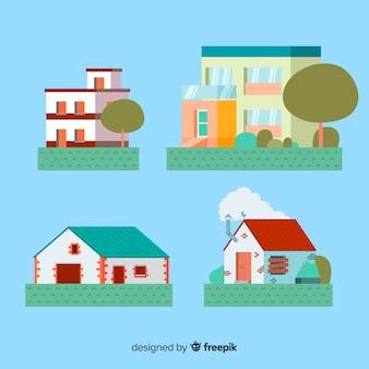 Collection de logements dans un style plat