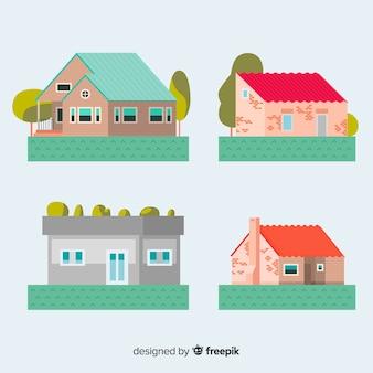 Collection de logements résidentiels en style plat