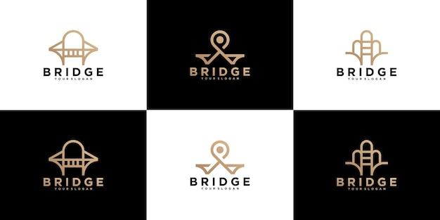 Collection, logo abstrait de construction de pont