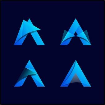 Collection de logo abstrait dégradé a lettre
