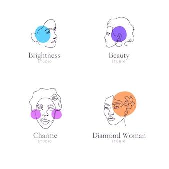 Collection de logo abstrait femme dessinée à la main