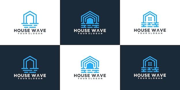 Collection de logo abstrait maison et vagues