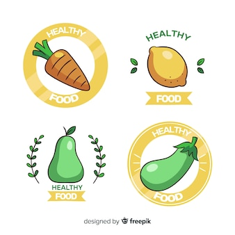 Collection de logo d'aliments sains