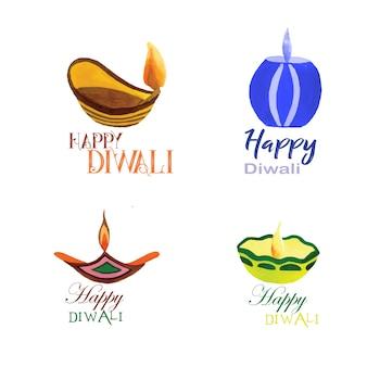 Collection de logo aquarelle diwali