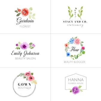 Collection de logo aquarelle florale