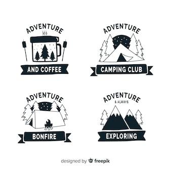 Collection de logo d'aventure dessiné main incolore