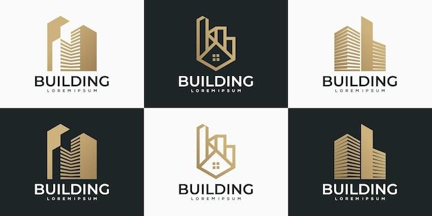 Collection de logo de bâtiment abstrait créatif