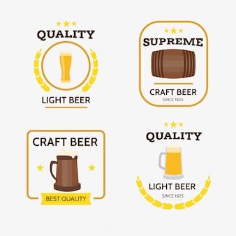 Collection de logo de bière plate