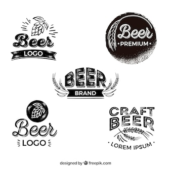 Collection de logo de bière plate