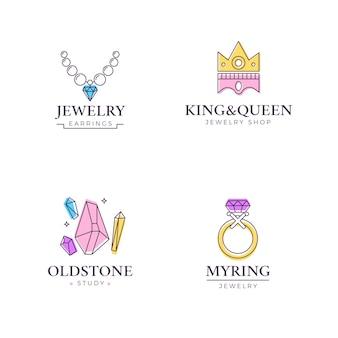 Collection de logo de bijoux design plat linéaire
