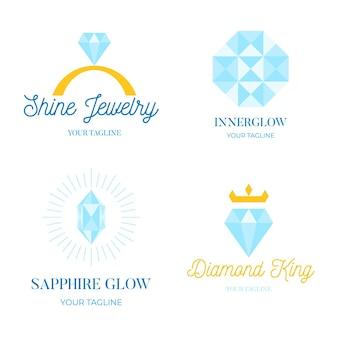 Collection de logo de bijoux plats linéaires