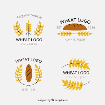 Collection de logo de blé dessinés à la main