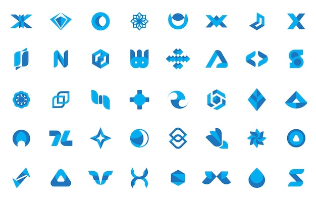 Collection de logo bleu abstrait minimal illustration vectorielle