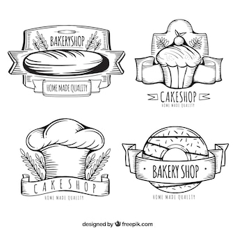 Collection de logo de boulangerie dessiné main